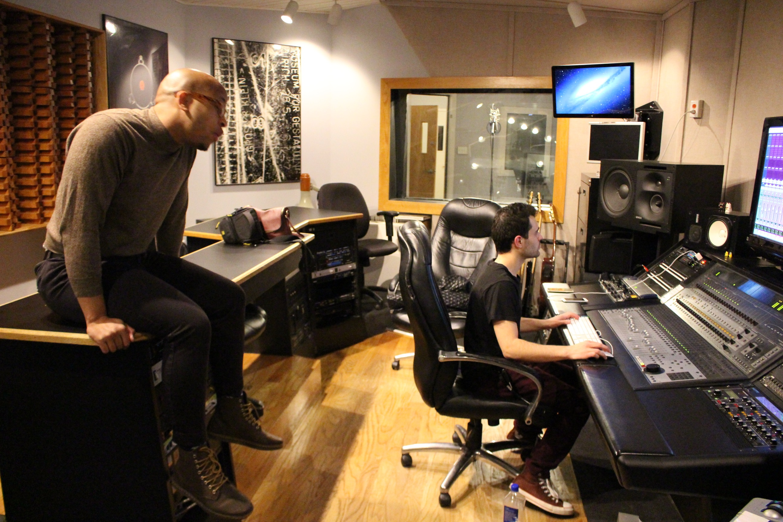 DJ Ell and Will Fairbanks at Cybersound Studio